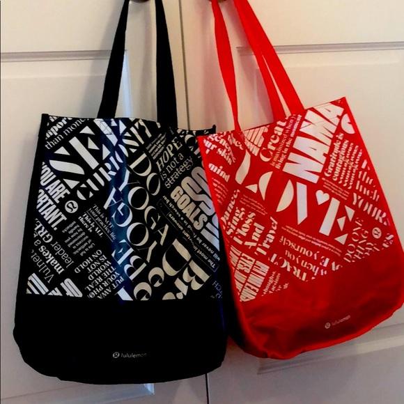 2 LG Lululemon reusable bags totes